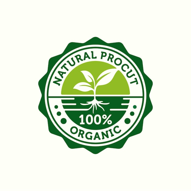 Stamp for 100% organic and natural product label badge or seal sticker logo design template