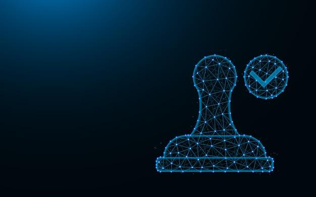 暗い青色の背景、多角形のゴム製スタンプワイヤフレームメッシュ上の点と線から作られたスタンプ承認