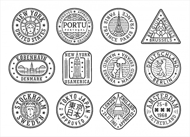 Stamp concept set with tourist attractions of world city and capital.