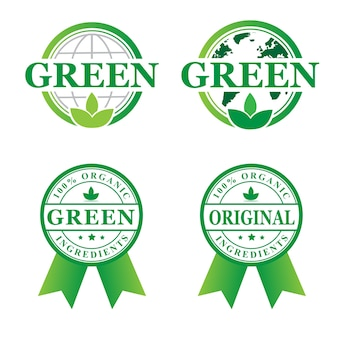 Stamp green organic  set logo designs