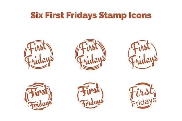 Stamp icons for first fridays vector illustration