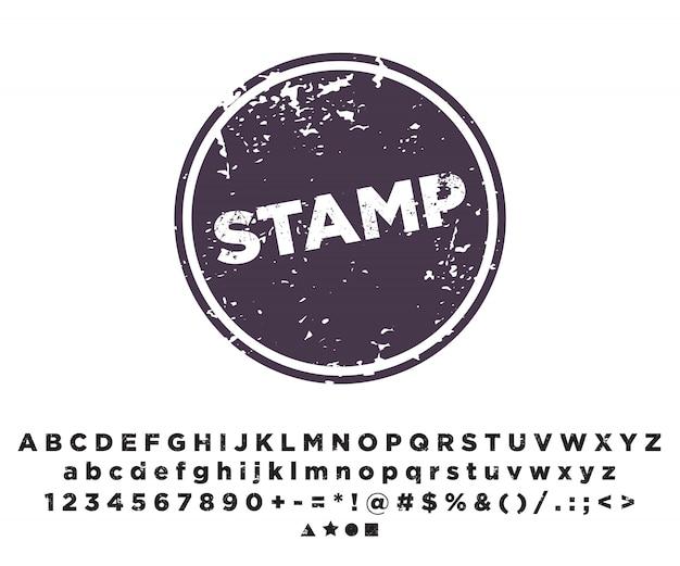 Шаблон печати. алфавитный шрифт тиснение.