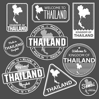 태국 지도 품질 벡터 일러스트와 함께 스탬프