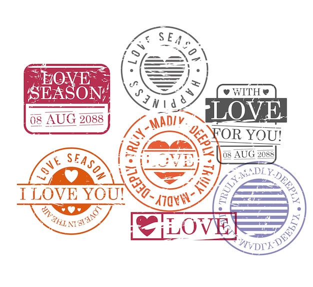Stamps set of love season in colorful silhouette