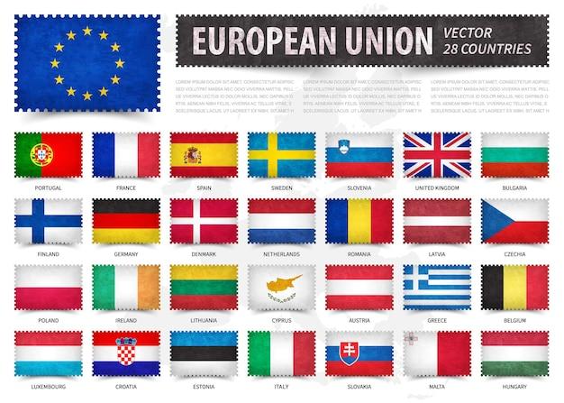유럽 연합에있는 국가의 공식 깃발의 우표 세트
