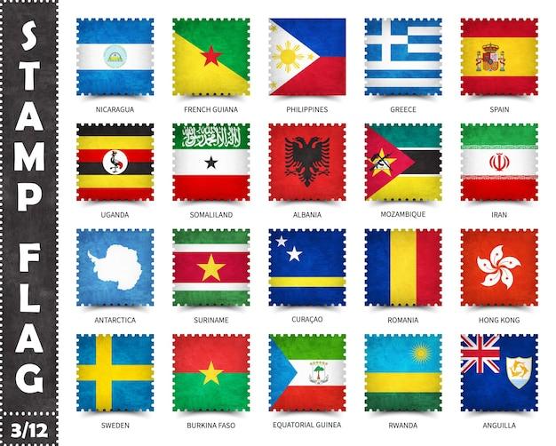 Набор марок официальных флагов стран мира