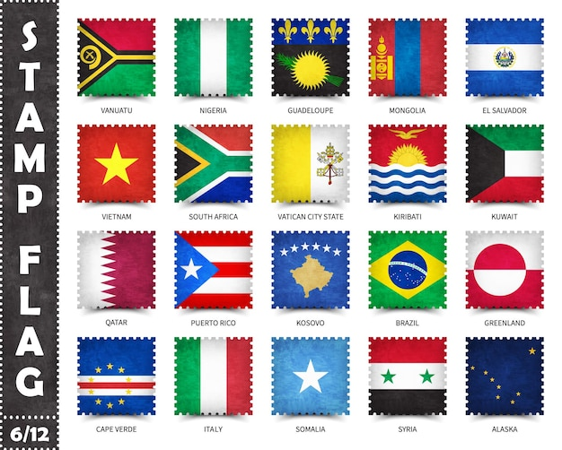 Stamps set of official flags of countries in the world