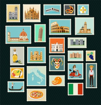 Stamps with historical architecture of italy