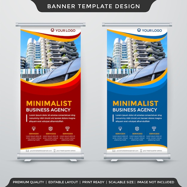 Stand banner template design with abstract style use for promotion display