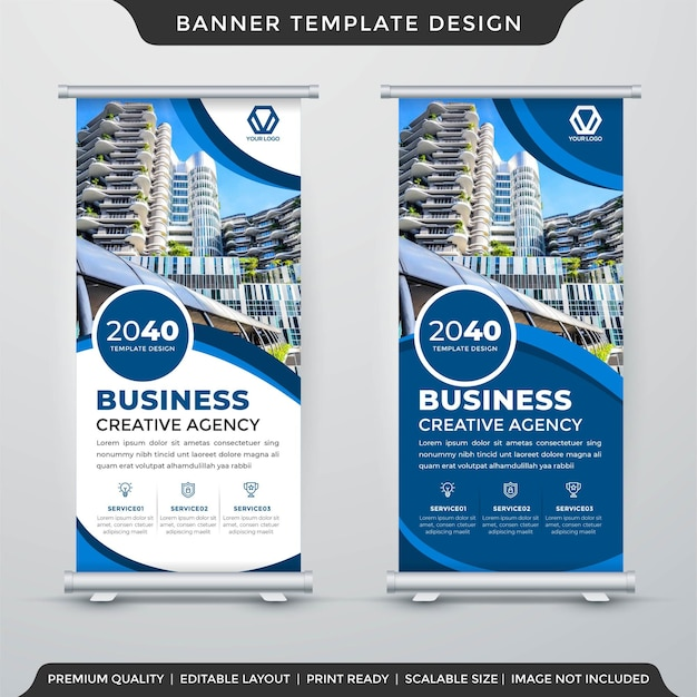 Stand banner template design with modern and premium style