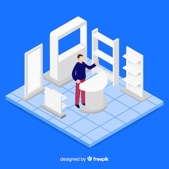 Stand exhibition in isometric concept