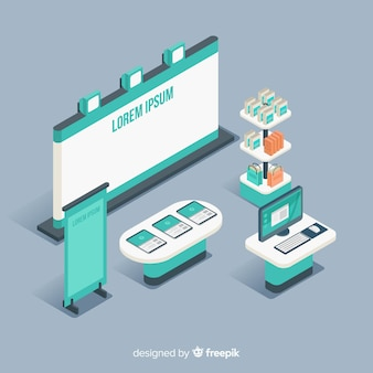 Stand exhibition in isometric design