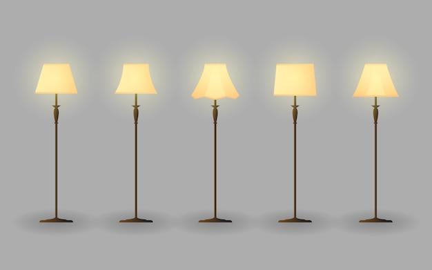 Stand lamp interior vector bundle design illustration
