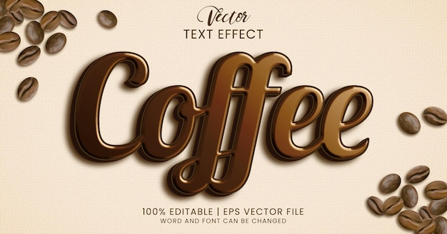 Выделенный и блестящий стиль текстового эффекта кофе