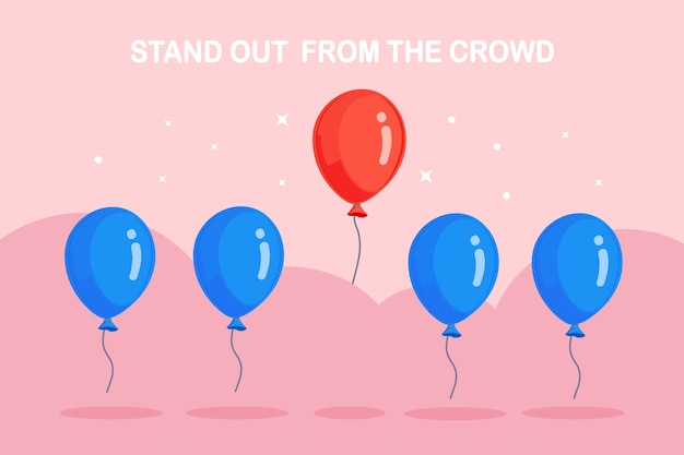 Stand out from crowd. air balloons flying, circle and stars in background. think differently concept.