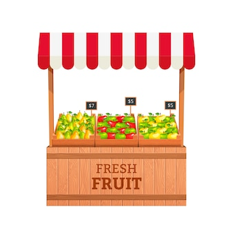 Stand for selling fruit. apples and pears in wooden boxes. fruit stand illustration