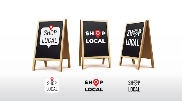 Stand sign board shop local label