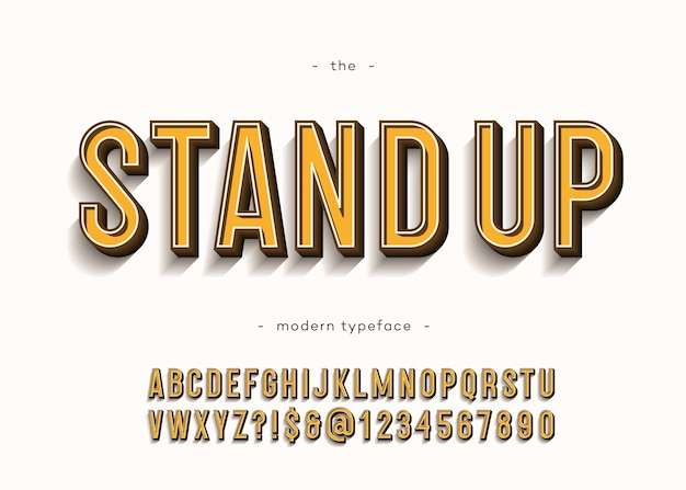 Stand up alphabet modern typography sans serif 3d bold style for book