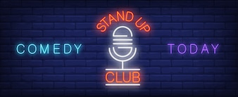 Stand up club neon sign. Retro microphone on stand for comedy show today.