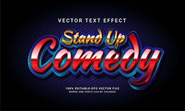 Stand up comedy 3d editable text style effect