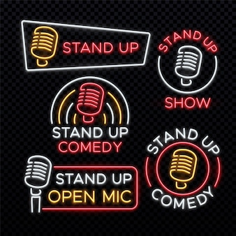 Stand up comedy bright neon signs. comedy stand up emblem