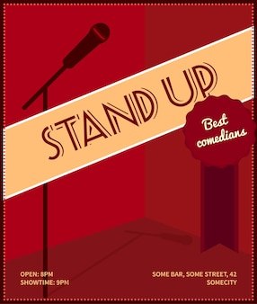Stand up comedy event poster. retro style vector illustration with black silhouette of microphone, badge best comedians and text.