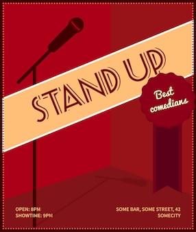 Встаньте плакат комедийного мероприятия. ретро стиль векторные иллюстрации с черным силуэтом микрофона, значок лучших комиков и текста.