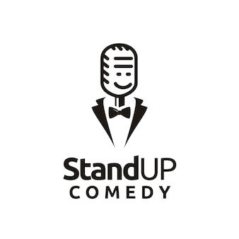 Stand up comedy logo design funny smiling microphone face with bow tie and tuxedo suit