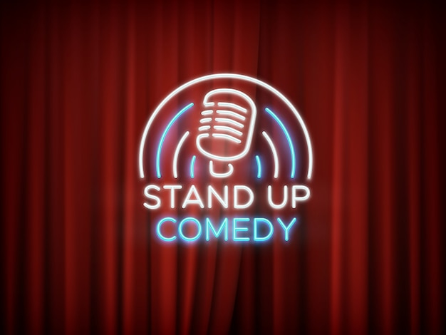 Stand up comedy neon sign with microphone and red curtain  background.
