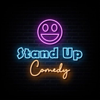 Stand up comedy neon signs vector design template neon sign