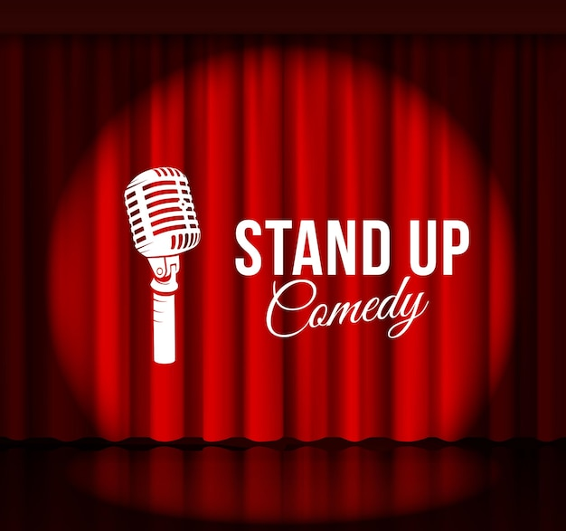 Stand up comedy with microphone and red curtain.