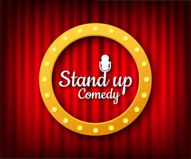 Stand up in flat style on red background. retro microphone . mic stand.   illustration.
