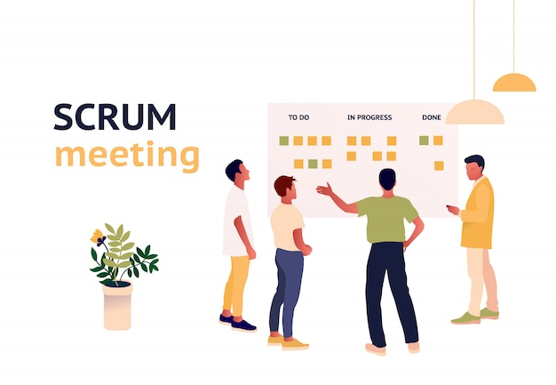 Stand-up meeting  illustration. scrum master with team.
