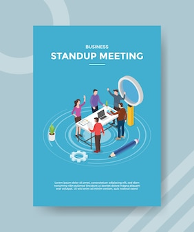 Stand up meeting people teamwork discussion on workspace for template of  flyer