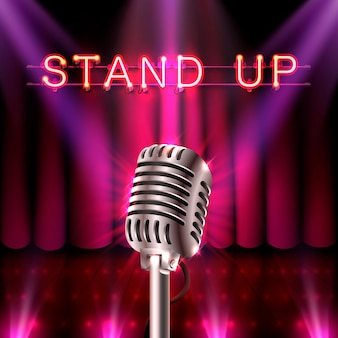 The stand up, microphone on the red scene. vector illustration