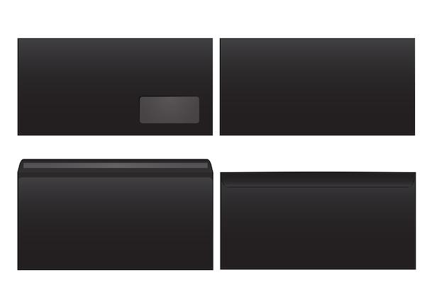 Стандартные черные бумажные конверты. для офисного документа или письма. пустые макеты. белый пустой почтовый конверт с прозрачным окном. размер dl, евро