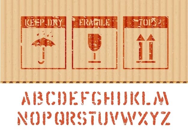 段ボールの標準的な貨物グランジボックスサインと貨物とロジスティックの傘、ガラス、上向き矢印アイコンのアルファベット。ベクター