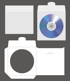 Standard disc envelope mockup with dieline cut
