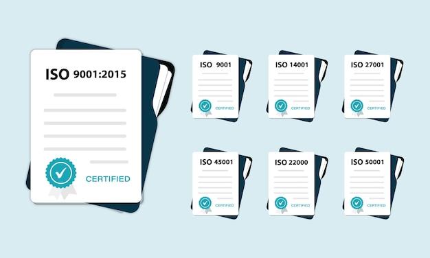 Стандарт контроля качества. значок iso. набор сертифицированных документов iso.