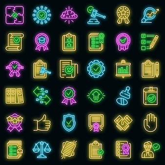Standard icons set. outline set of standard vector icons neon color on black