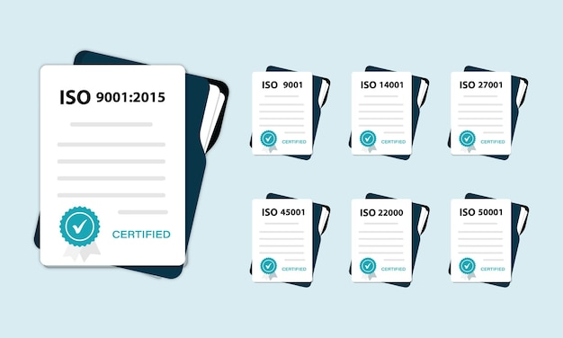 Standard for quality control. iso icon. certified iso documents set.
