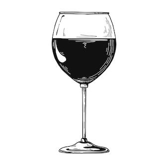 Стандартный бокал для красного вина. иллюстрация.