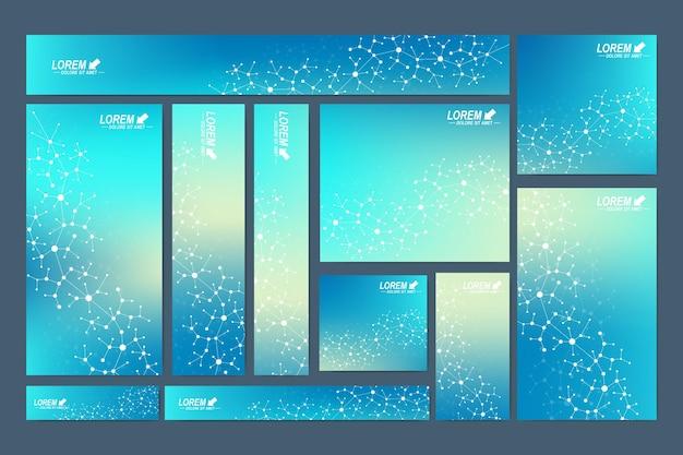 Standard size banners. cybernetic dots. lines plexus.