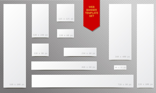 Standard size empty white blank web banner set with curled edges effect