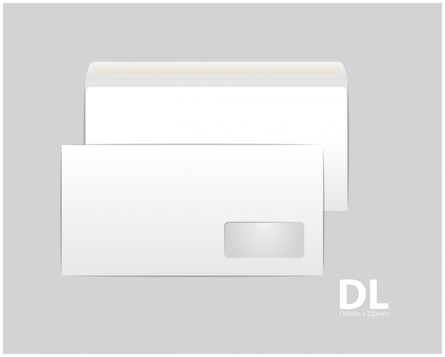 Standard white paper envelopes. for an office document or letter.  blank template. white blank mail envelope with a transparent window. size dl, euro