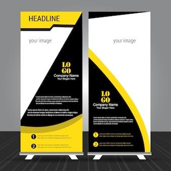 シンプルな黒と黄色のstandeeロールアップバナー