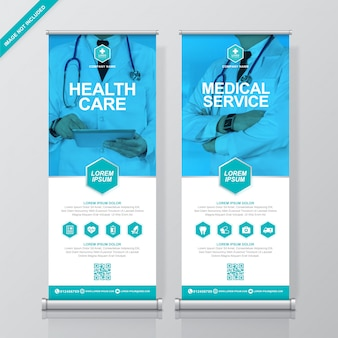 Здравоохранение и медицинский шаблон баннера сворачивания и standee