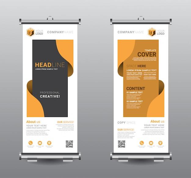 Сверните баннер standee бизнес шаблон дизайна.