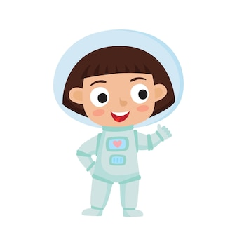 立っている宇宙飛行士の子供のイラスト