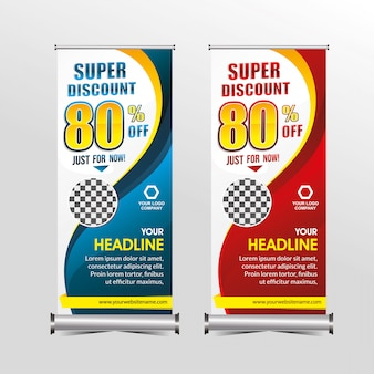 Standing banner template super special offer sale discount, geometry sale banners promotion